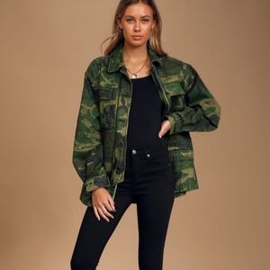 FREE PEOPLE Seize The Day Camo Military Ja…